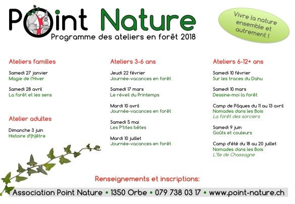 Programme des ateliers 2018