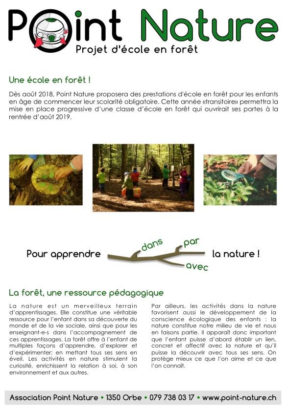 Ecole en forêt Flyer 2018