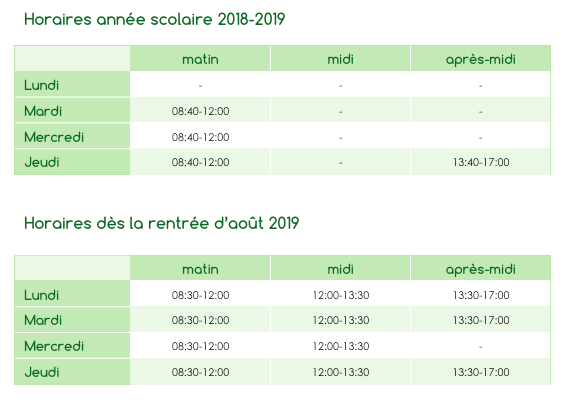 Horaires P'tits Points site web